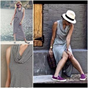 Dolan Left Coast Cowlknit Midi Dress Stripe Medium